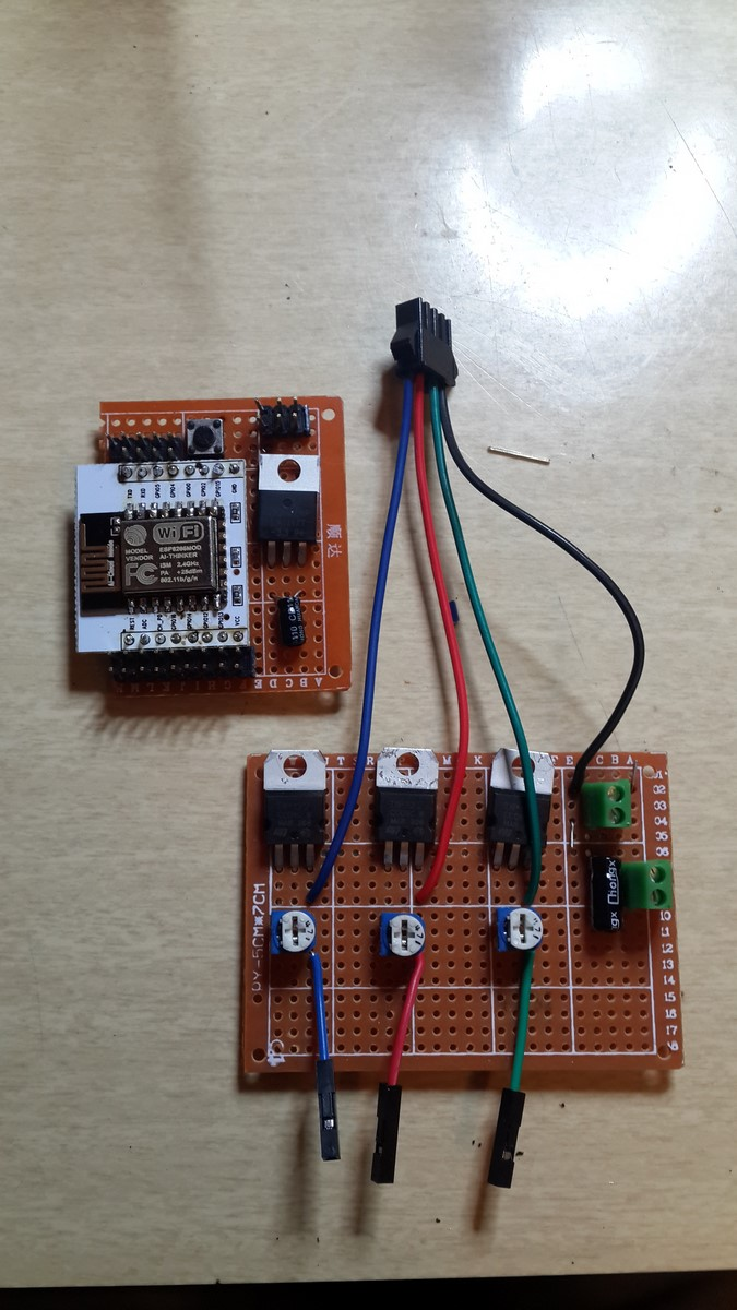 Soldered boards Led driver and ESP12e