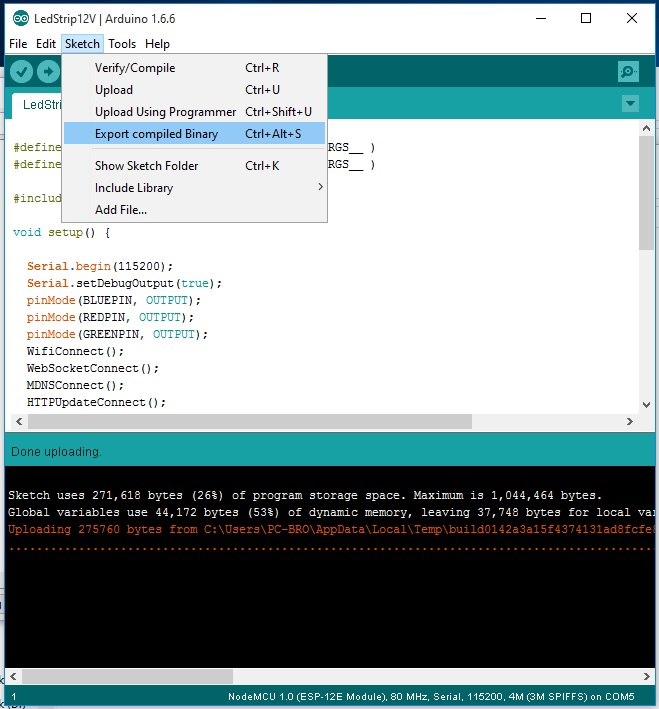IDE arduino ESP8266 creates binary file