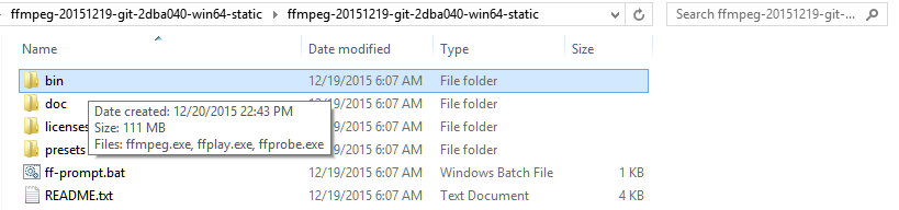 inside the ffmpeg folder after extracting