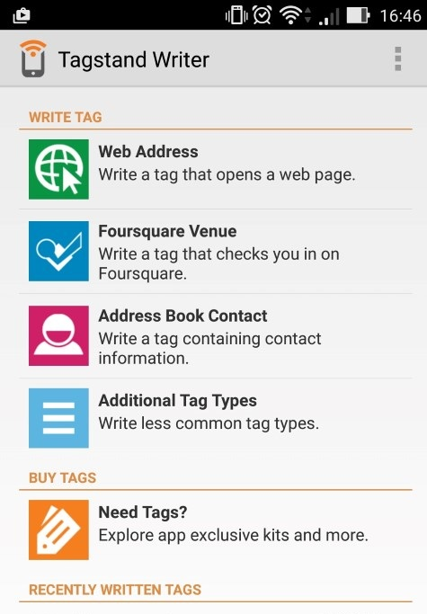 Tagstand writer app homepage